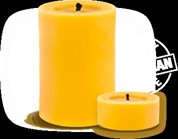 Homemade natural beeswax candles